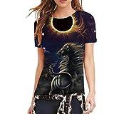 BHYDRY Mode lustige Frauen Mode 3D Print Casual Kurzarm Top Bluse T-Shirts(L,Schwarz)