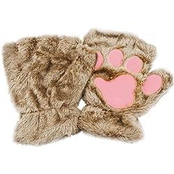 Tinksky Manoplas de felpa de invierno Guantes sin dedos cortos Garra de gato lindo Pata del perro Guantes de medio dedo Regalo de cumpleaños de Navidad para mujeres niñas (Caqui)