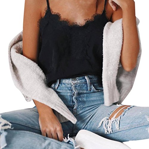CLOOM Blusen für Damen Spaghetti Strap Sexy Sweatshirt Lace Shirt Freizeit Spitze Patchwork Top Frauen Pullover Sexy Bandage Backless Crop Top Camisole Basic Weste Frauenhemden (Schwarz, XL)