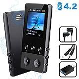 MP3 Player, 8GB Bluetooth Sport Musik Player mit Lautsprecher, Portable MP4 Player mit FM Radio Voice Recorder E-Book Pedometer, 1.8'' TFT Bildschirm, Unterstützt bis 128 GB SD Karte -