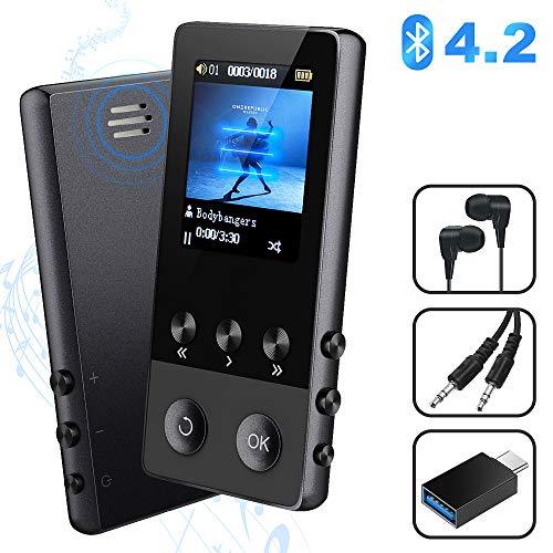 MP3 Player, 8GB Bluetooth Sport Musik Player mit Lautsprecher, Portable MP4 Player mit FM Radio Voice Recorder E-Book Pedometer, 1.8\'\' TFT Bildschirm, Unterstützt bis 128 GB SD Karte