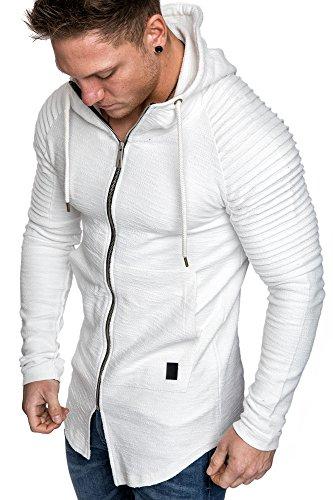 Sport Herren Pullover Strickjacken (Amaci&Sons Herren Oversize Biker Jacke Kapuzenpullover Strickjacke Hoodie Sweatjacke Pullover 4031 Weiß L)