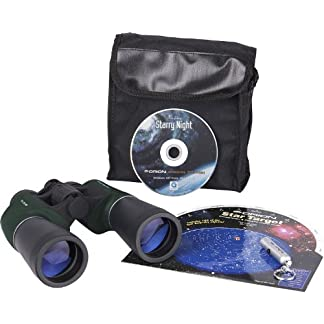 Orion 10x50 Binocular Stargazing Kit with RedBeam Mini LED Flashlight (Green)