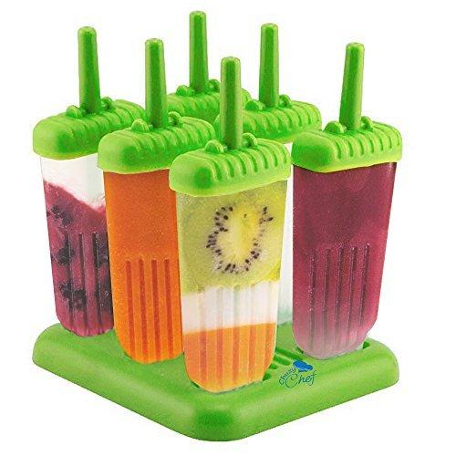 Chuzy Chef - Seis moldes de polo con bandeja, sin BPA, varios colores, verde