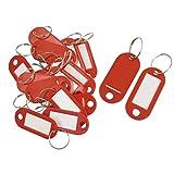 Sonline 20 Pcs Clave ID Label Etiquetas Anillo de division llavero Rojo