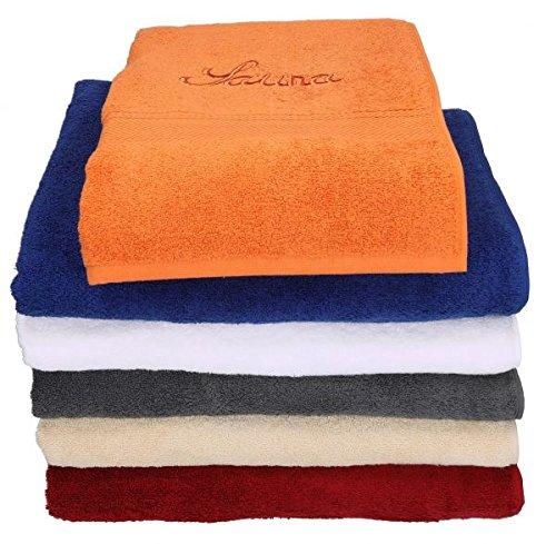 Betz 2 Stück Saunatücher Saunahandtuch FRANCE 100% Baumwolle Größe 80x200 cm verschiedene Farben Farbe anthrazit