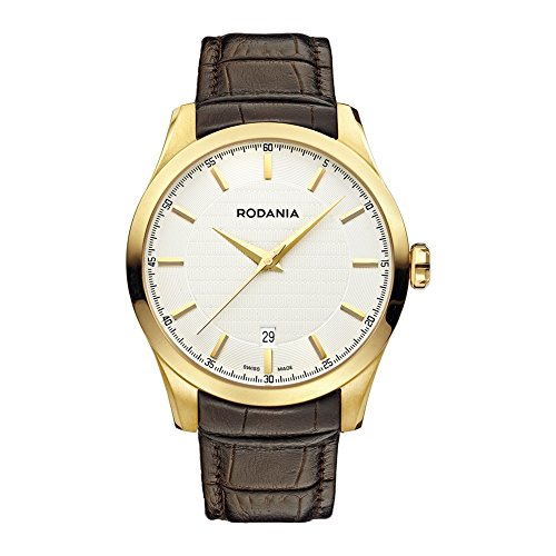 Rodania Swiss Nolan Men's Quartz Watch with White Dial Analogue Display and Black Leather Strap RS2506830
