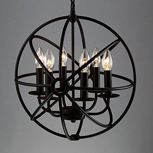 BAYCHEER Schmiedeeisen Globe Hängeleuchte Käfig Cage Industrielampe E12/E14, Ø 42 cm Pendelleuchte 6 Lampenfassungen Esszimmer Lampe Wohnzimmer Kronleuchter -