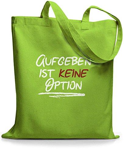 StyloBags Jutebeutel / Tasche Aufgeben ist keine Option Lime