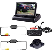 Podofo Wireless Auto bcakup Fotocamera 3In1telecamera retromarcia Sensori di parcheggio Radar Detector Sistema 4.3LCD Monitor (3 Radar)