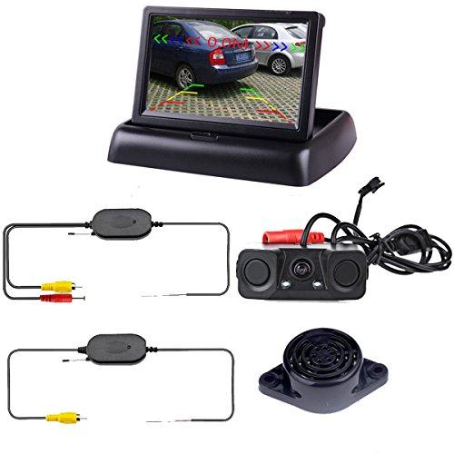 Podofo wireless auto bcakup fotocamera 3 in1 telecamera retromarcia sensori di parcheggio radar detector sistema 4.3 lcd monitor di retromarcia per veicolo