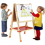Wishkey 2 In 1 Adjustable Big Size Wooden Magnetic Double Sided Blackboard And Whiteboard | Easel Board For Learning | Educational Writing And Drawing Board For Kids With Stand,Chalk,Duster,Numbers For Mathematical Calculation And English Alphabets