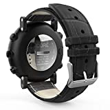 MoKo Suunto Core Cinturino, Morbido Braccialetto di Vera Pelle in Motivo Coccodrillo per Suunto Core Smart Watch, Adatto al Polso 5.31'-8.27' (135mm-210mm), Nero