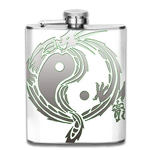 Gxdchfj Yin Yang Dragons Portable Stainless Steel Flagon Whiskey Wine Bottle (Dragon Thermo Shirt)