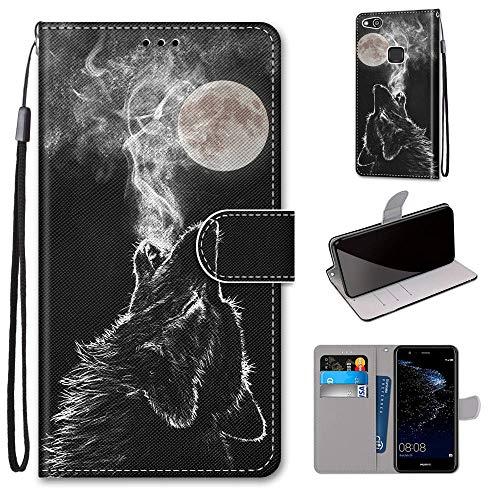 Miagon Flip PU Leder Schutzhülle für Huawei P10 Lite,Bunt Muster Hülle Brieftasche Case Cover Ständer mit Kartenfächer Trageschlaufe,Heulen Wolf