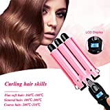 inkint Portable 3 Barrels Wave Curler Ceramic Curling Iron Wand Lcd Display Hair Curler Hair Styling Tool For Travel Wedding Party Modeling (25MM)