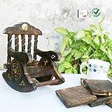 #2: Saarthi Wooden Antique Beautiful Miniature Rocking Chair Design Tea Coffee Coaster Set