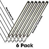 Jaymo - 6 - Recharges de stylo roller compatibles Montblanc noires - Écriture lisse, encre allemande et pointe moyenne - Comparatif à Montblanc 105158/107877/MNB15158
