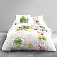 Today 013047Zen Puertorico Juego de funda nórdica/2fundas de almohada de algodón blanco/verde/rosa 220x 240cm