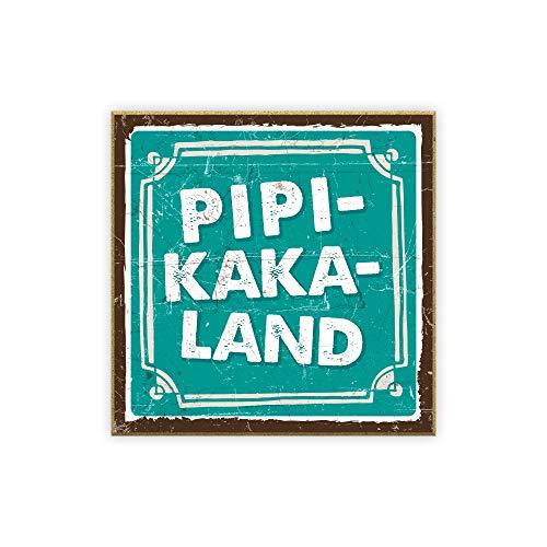 TypeStoff Holzschild mit Spruch – Pipi-Kaka-Land – im Vintage-Look mit Zitat als Geschenk und Dekoration (Größe: 19,5 x 19,5 cm)
