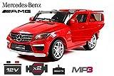 Lizenz Kinderfahrzeug Mercedes Benz ML63 AMG Jeep SUV mit 2x 35W Motor Kinderauto Elektroauto Fernbedienung MP3 Anschluss in Rot