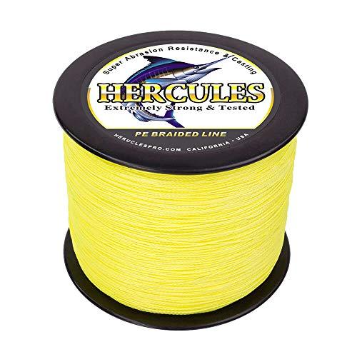 HERCULES Geflochtene Angelschnur 4fach 1000M Dm: 0,55mm Fluoreszierendes Gelb (Fluorescent Yellow) 100LB (45,4KG) Tragkraft