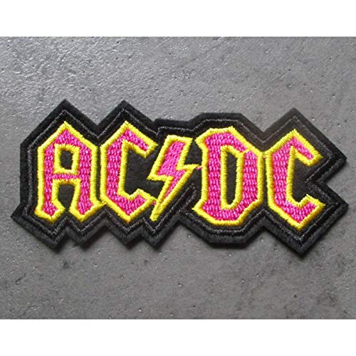 hotrodspirit – Patch Banda Hard Rock ACDC Negro Amarillo Rosa 8 x 5 x 4 cm  Escudo termoadhesiva – Chaqueta Camisa