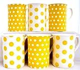 Yellow Dots & Spots Fine Bone China Mugs (Set of 6) FREE UK Delivery
