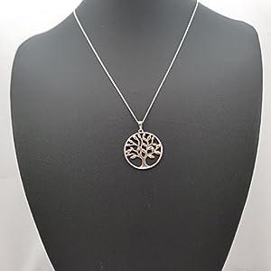 Kiara gioielli in argento Sterling 925a forma di albero della vita collana placcata oro rosa con foglie di 45,7cm taglio diamante, italiano o catena.