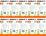 Roomlux - 10 bombillas LED E27G609W, de 806lúmenes 3000K, blanco cálido 360° 230V AC, no regulable