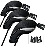 Andux Golf Driver Wood Head Covers Interchangeable No. Tag 3 of Set (Black)