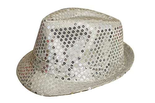 Womens Kostüm Gangster 1920 - Adult Ladies Red Black Gold Silver Pink Sequinned 1920s Gangster Trilby Fancy Dress Hat (Silver)