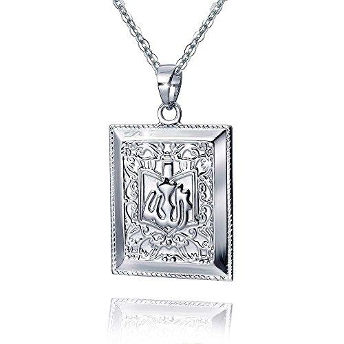 MATERIA 925 Sterling Silber Anhänger Herren Koran Buch Religion rhodiniert #KA-366