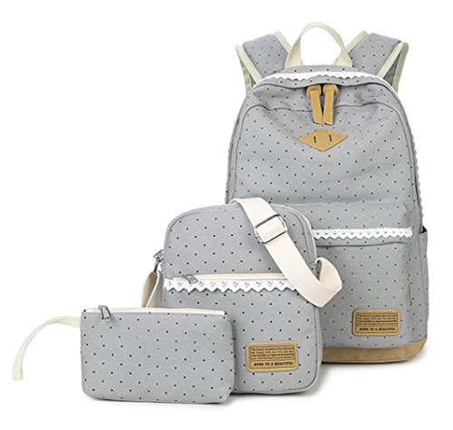 WKBY 3pcs/Set Student Backpack Womens Girls Kids Canvas Bags Dot Shoulder Bags Travel School bags Rucksack With Fancy Lace(Purple) Color 2