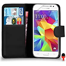 Samsung Galaxy Core Prime Premium Leather Black Wallet Flip Case Cover Pouch + RED 2 IN 1 Dust Stopper + Screen Protector & Polishing Cloth SVL0 BY SHUKAN®, (WALLET BLACK)