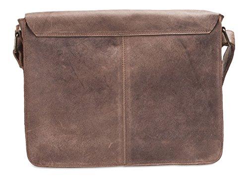 Brunhide # 154-300 - Ampia borsa messenger con tracolla porta laptop - vera pelle di bufalo Coffee