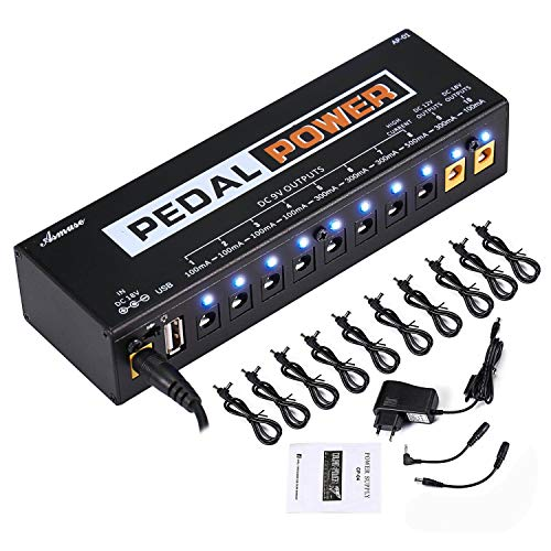 Asmuse 9v 8 Way Netzteil Pedal Power Supply Daisy Chain kabel effekt Adapter Rechtwinkliges Splitter Splitterkabel Blei Chord für Gitarre Bass-Effekt Keyboards