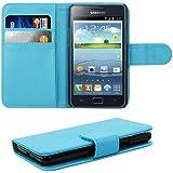kwmobile Wallet Case Hülle für Samsung Galaxy S2 S2 PLUS - Cover Flip Tasche mit Kartenfach in Blau