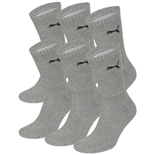 PUMA Unisex Crew Socks Socken Sportsocken MIT FROTTEESOHLE 6er Pack grey 400 - 39/42