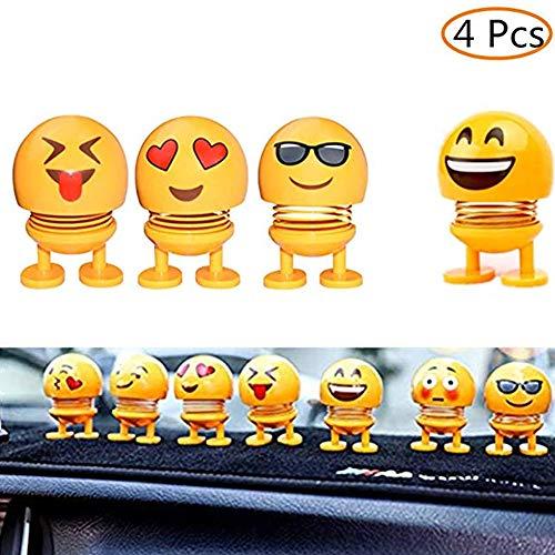 LGF Helmet Smiley Frühlingsspielzeug Macht glücklich Bouncing Smiley Puppe im Auto Spielzeug Indoor Fun Zubehör Puppen Inhalt 4-TLG (Fun-auto-zubehör)