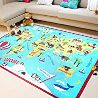 Extra Large Kids Rug World Map Animal Sightseeing Attractions Educational Children