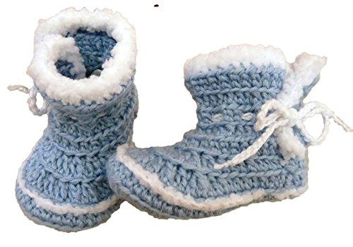 Scarpine neonato Stivale Campera fatto a mano con lana di alta qualità, autunno/invernale, 0-3mesi, azzurro