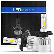 Efikeco 2x H4 LED bombillas para faros delanteros, haz alto / bajo, Super brillante 8000LM 72W, ventilador de refrigeración incorporado 6500K blanco