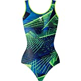 TYR  Girls In Axis V-Cut Swim Active 26 ( Blue Green/ Neon Green )