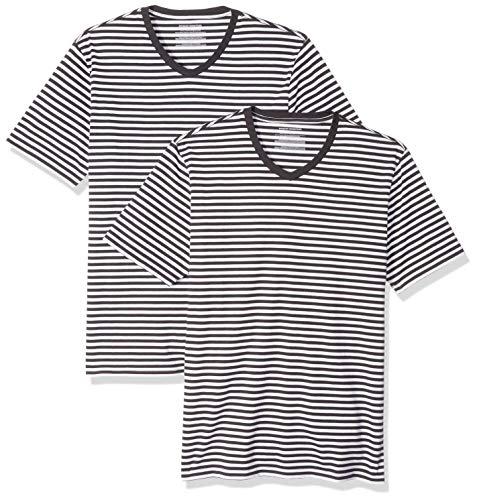 Amazon Essentials Herren Slim-fit Short-Sleeve Stripe V-Neck T-Shirts 2er Pack,Schwarz(Schwarz/White),X-Large -