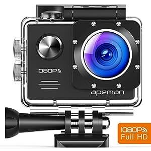apeman A70, Action Cam Impermeabile WiFi Sports Cam FHD 14MP Dual Batterie Custodia Portatile con Accessori, Nero …