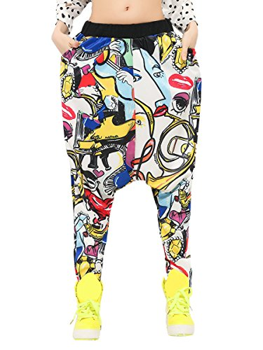 Damen Trend Haremshose Pluderhose Freizeithosen Streetwear Hip Hop - Bunt Digitalen Transferdruck Pattern -