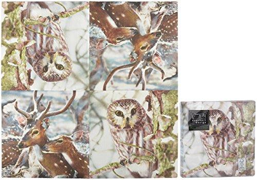 Esschert Design Serviette en Papier de Soie avec Motifs (Lot de 20) Cerf et Chouette