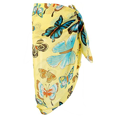 d979291ab01 CHIC DIARY Women Chiffon Pareo Beach Wrap Sarong Swimsuit Scarf Cover Up for  Holiday (Yellow