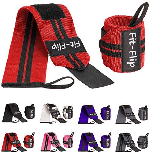 2x Profi Handgelenk Bandagen | Wrist Wraps in 15 Farben, Handgelenkstütze in Premium Qualität für Kraftsport und Bodybuilding, Handgelenkbandage fitness (rot-schwarz)